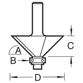 """Trend C049X1/4TC 1/4"""" Guided Chamfer Router Cutter"""