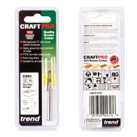 "Trend C001X1/4TC 1/4"" Two Flute Straight Cutter"