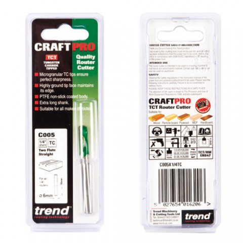"""Trend C005X1/4TC 1/4"""" Two Flute Straight Cutter"""