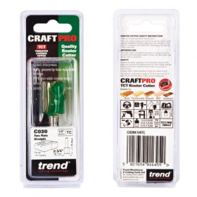 """Trend C030X1/4TC 1/4"""" Two Flute Straight Cutter"""