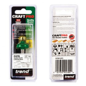 """Trend C076X1/4TC 1/4"""" Guided Ovolo & Round Over Router Bit"""
