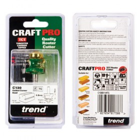 """Trend C130X1/4TC 1/4"""" Guided Corner Bead Router Cutter 4.8mm"""